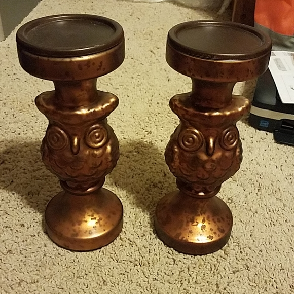 Ashland Other - New Set of 2 Metal Owl Candke Holders Pillars